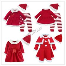 Toddler Baby Girls Christmas Santa Claus Dress Outfits +Hat Costume Xmas Clothes