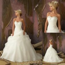 NEW Stock Organza White/Ivory Wedding Dress Bridal Ball Gown Size6-8-10-12-14-16