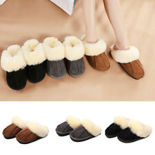 Women Men Slippers Faux Suede Comfort Fur Home Winter Warm Casual Shoes Antislip