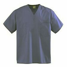 NEW SCRUB TOP Unisex Nursing Medical Uniform Medium NAVY BLUE POCKET TOP A89