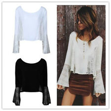 Women's Lace Spliced Round Neck Long Bell Sleeves See Through Shirts Tops Blouse