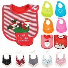 Baby kids Girl Boy Lunch Bibs Saliva Cotton Towel Waterproof Xmas Santa Deer