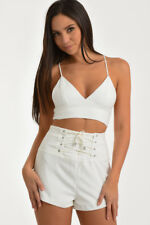 ZOEY WHITE HIGH WAISTED LACE UP SHORTS