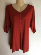 WOMENS DULUTH Trading Company Blouse Shirt Top Size 2X Burnt Orange Henley