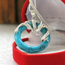 Lady New Style Pendant Gold Plated Jade Turquoise Jewelry Women Fashion Necklace