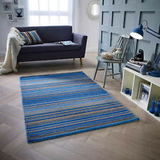 Blue Beige 100% Wool STRIPED Pattern HIGH QUALITY Modern Rug  Runner 25% OFF