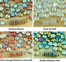 40pcs Crystal Lentil Round Flat 2 Two Hole Spacer Czech Glass Beads 6mm