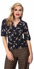 Collectif Aubrey 40s WW11 Style Navy Blue Swallow Crepe Blouse