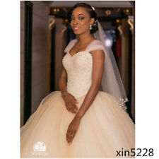 Champagne Wedding Dresses Pearls Sweetheart Neck Bridal Ball Gowns Custom Made