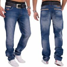 Men's Denim Jeans Dark Blue Stone Washed Relaxed Fit Button Row Loose
