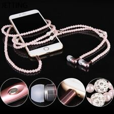 Rhinestone Jewelry Pearl Necklace Earphone W/ Mic Earbud In-ear For iPhone Phone