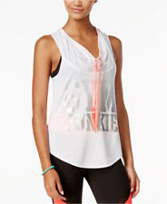 Juniors Active Graphic Cowl-Neck Tank Top Sleeveless Racerback White Bright Top