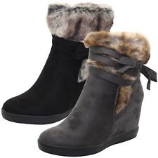 Ladies Faux Suede Fur Ankle Boots Warm Comfy Women Wedge Heel Fur Sandals Shoes