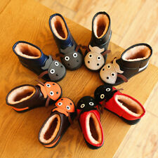 Baby Kids Boy Girl Cartoon Snow Boots Fur Lined Winter Warm Shoes Size 7-12.5