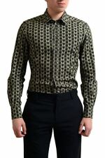 "Dolce & Gabbana ""Gold"" Men's Owl Print Dress Shirt US 15 15.75 16.5 17"