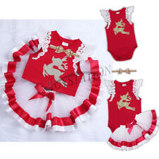 Infant Baby Girl Christmas Dress Outfit Lace Romper Tutu Skirt Headband Set Xmas