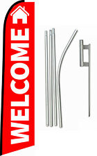 """Swooper Feather Flag Kit 15ft Real Estate """"Welcome"""" 15' w/ Ground Spike and Pole"""