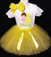 Ballerina --With NAME-- 6th Birthday Dress shirt 2pc Yellow Tutu outfit Dance