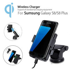 Qi Fast Wireless Car Charger Holder Dashboard Windscreen Mount For Samsung Phone