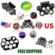 Roll up Portable 9 Pad USB 9 Pad Musical Instrument Electronic Drum Kit Kids US
