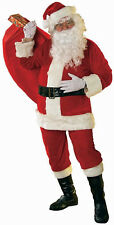 Velour Super Deluxe Santa Suit Plus Size Mens 6Pce Christmas Costume Boot Tops B