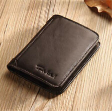 Genuine Leather Men's Short Wallet Cowhide Coin Purse Card Holder