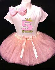 Princess Crown--With NAME-- 5th fifth Birthday Dress shirt 2pc Pink Tutu outfit