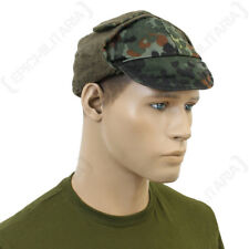 German Flecktarn Camouflage Winter Cap - Hat Army Surplus Ear Flaps Soldier Mens