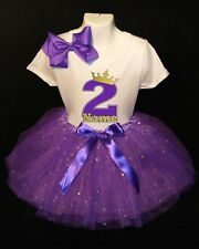 Princess Crown --With NAME--2nd Birthday Dress shirt 2pc Purple Tutu outfit