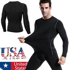 Mens Tights Sports T-shirts Compression Thermal Base Layer Long Sleeve Top S-XL