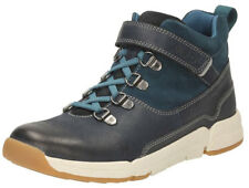 Clarks TRI SPIKE Boys Navy Leather Suede Shoes Boots 11 - 5 F & G Fit NEW BOXED