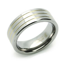 8mm Tungsten Comfort Fit Wedding Band Promise Ring  Grooved Ring