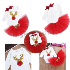Lovely 3Pcs Infant Baby Girls Christmas Party Outfit Romper+Tutu Skirt+Headband