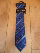 MARKS AND SPENCERS AUTOGRAPH PURE FINE SILK TIE FLOWERS STRIPES PURPLE BNWT