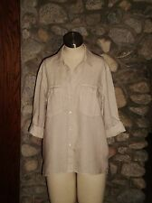 JAMES PERSE Standard LINEN POCKET BUTTON UP Shirt Natural Size 2 (Medium)  NWOT