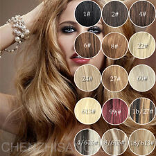 """18"""" 70g 100g Clip 100% Remy Natural Human Hair Extensions Black Brown Blonde AAA"""
