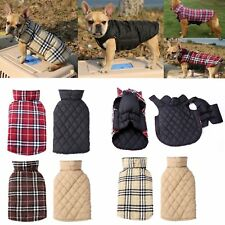 Winter Pet Dog Clothes Jacket Vest Small Large Plaid Warm Coat Bulldog Apparel