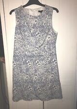 New Look Blue And White Floral Patterned Shift Dress Size 12