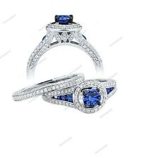 925 Sterling Silver Round Blue Sapphire Halo Engagement&Wedding Bridal Ring Set