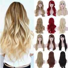Long Light Blonde Curly Heat Resistant Wavy Cosplay Women's Hair Full Wig As2