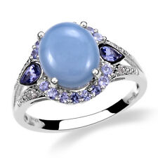 Blue Opal, Tanzanite 5.48 ct Platinum Over 925 Sterling Silver Ring Size 8 -ST