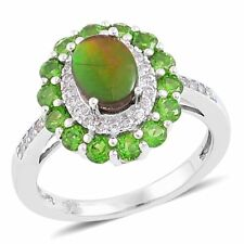 Canadian Ammolite, Russian Diopside, White Zircon Sterling Silver Ring (Size 8.0
