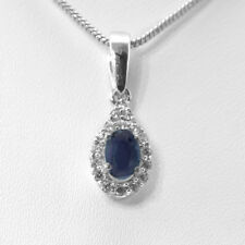 Sterling Silver Pendant with Blue Sapphire Natural Gemstone Oval Cut Handmade