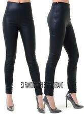 Ladies EX HIGH STREET Black Faux Leather Leggings Wet Look Shiny Stretchy Pants.