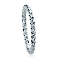 Sterling Silver Engagement Ring CZ Rope Style Wedding Band