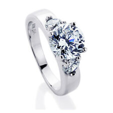 Sterling Silver Round CZ  Three Stone Engagement Ring