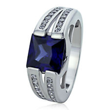 Sterling Silver Engagement Ring CZ Blue Square CZ Channel Set Ring