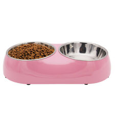 Pet Dog Bowl Food Water Dish Feeder Stainless Steel Feeder Pet Dog Double Bowls