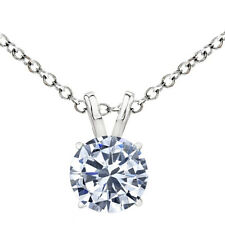 0.5 Carat Diamond G-H I1-I2 14K White Gold Solitaire Pendant Necklace w/ Chain
