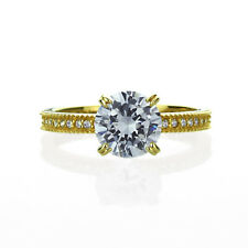 14K Yellow Gold Engagement Ring CZ Round Solitaire With Accent Band Ring
